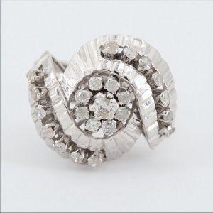WOW! Amazing 14K White Gold Diamond Ballerina Ring